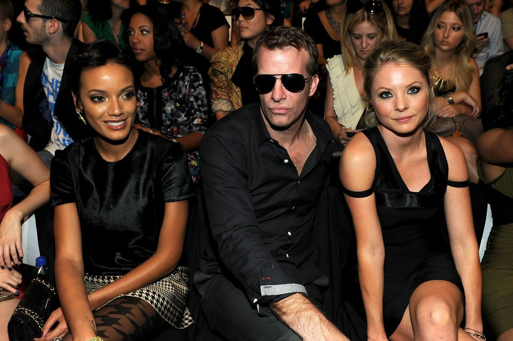 NEW YORK, NY - SEPTEMBER 13:  Model Selita Ebanks, actor Tom Jane and Kaitlin Doubleday attend the Herve Leger by Max Azria Spring 2012 fashion show during Mercedes-Benz Fashion Week at The Theater at Lincoln Center on September 13, 2011 in New York City.  (Photo by Larry Busacca/Getty Images for Mercedes-Benz Fashion Week)