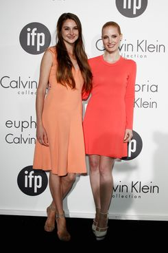 Actresses Shailene Woodley and Jessica Chastain attend Women In Film celebration with The IFP, Calvin Klein Collection & euphoria Calvin Klein at the 65th Cannes Film Festival at Villa St George on May 17, 2012 in Cannes, France.