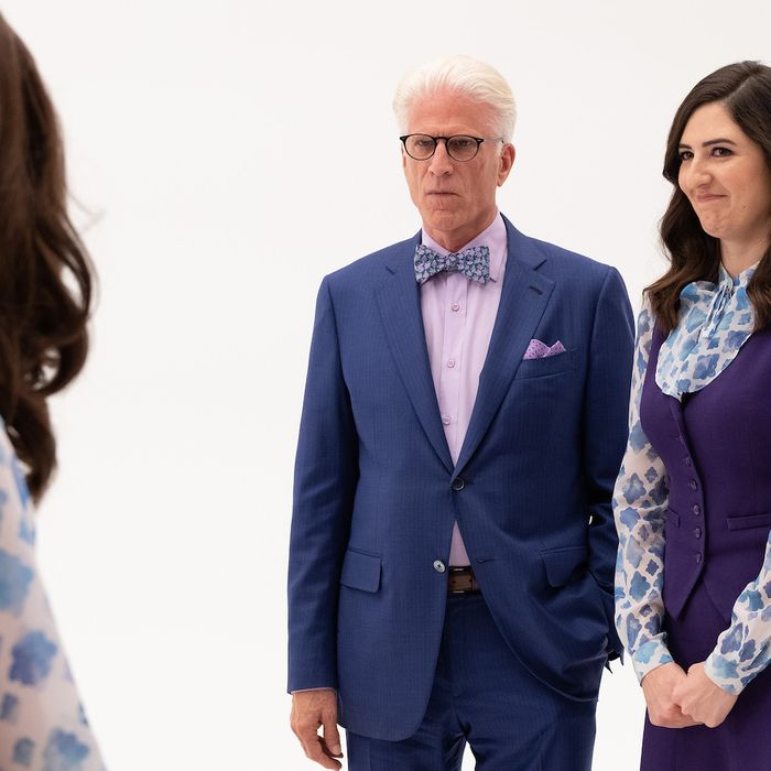 Ted Danson and D'Arcy Carden in The Good Place.