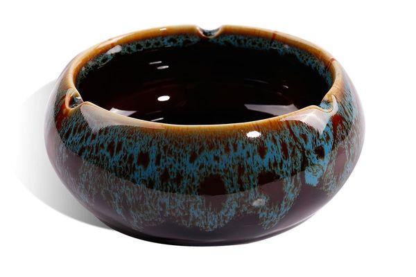 WaaHome Ashtray Round Glossy Ceramic Ashtray