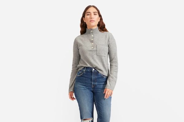 Everlane ReCashmere Button Mockneck