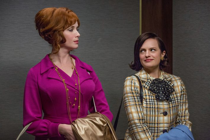 Joan and Peggy in the mid-season premiere of <em>Mad Men</em>.