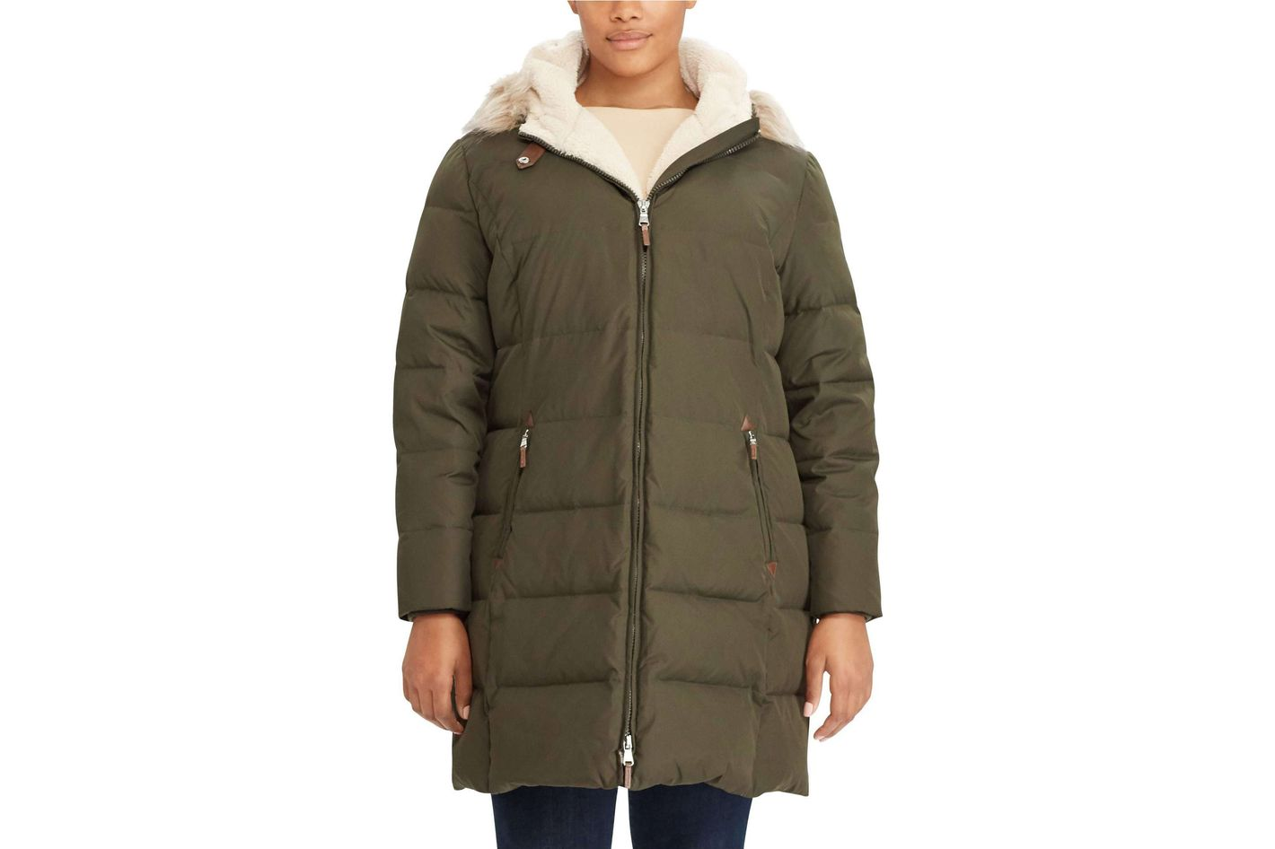Quilted Down & Feather Fill Parka With Faux Fur Trim