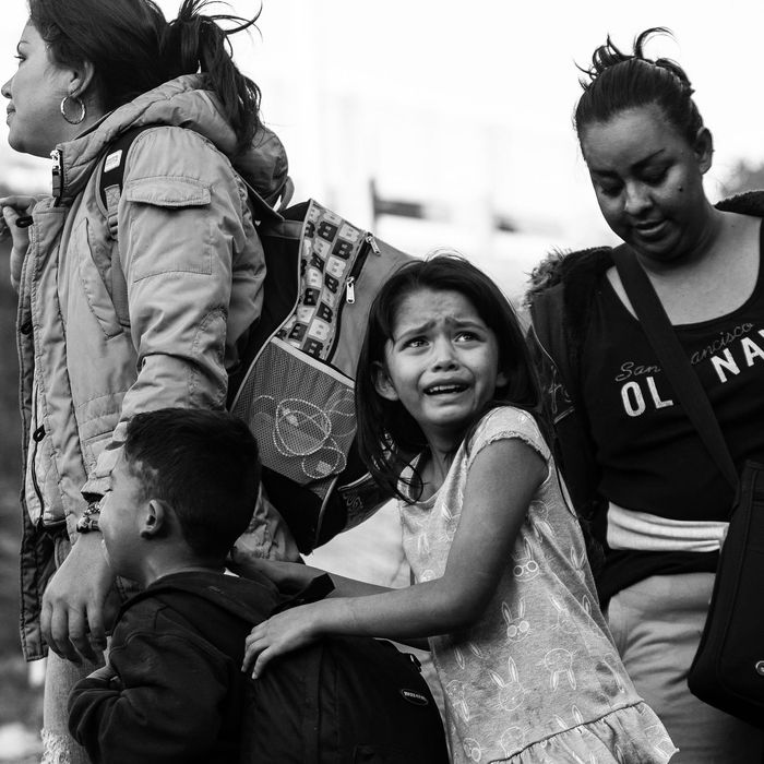 Migrant family at the border.