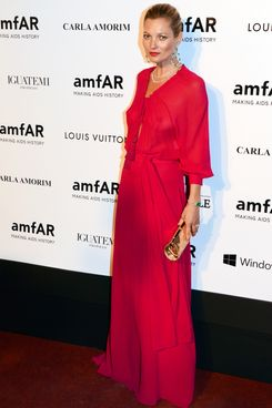 Kate Moss attends at amfAR's Inspiration Gala Sao Paulo on April 4, 2014 in Sao Paulo, Brazil.