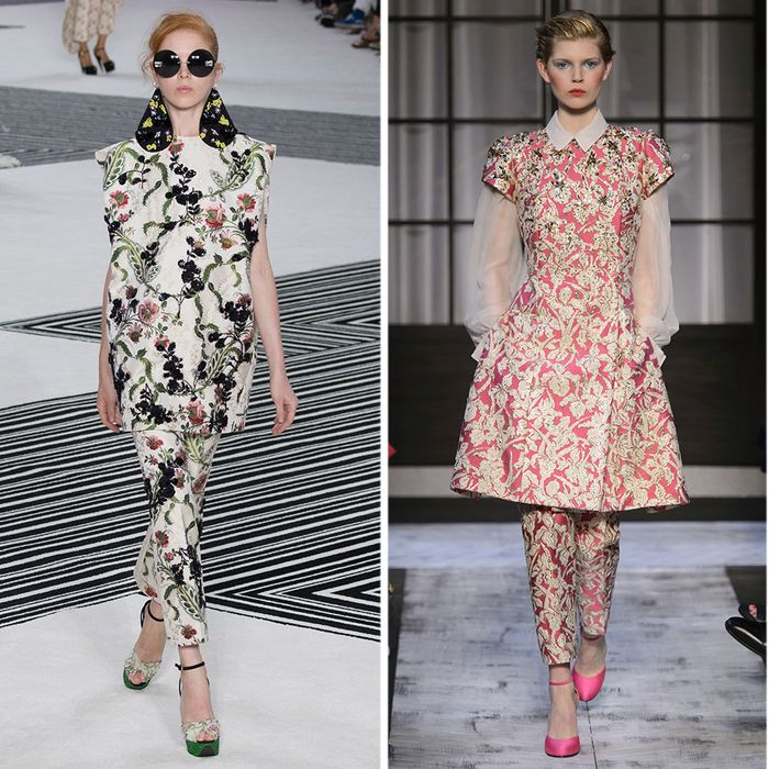 Left and Right Looks Giambattista Valli, Center Look Schiaparelli from their Fall 2015 collections.