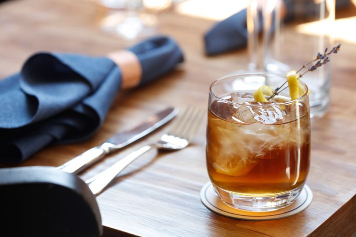 Lavender cocktail: bourbon, Herbs de Provence, sherry, black walnut.