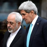 US Secretary of State John Kerry, (R), speaks with Iranian Foreign Minister Mohammad Javad Zarif, (L), as they walk in the city of Geneva, Switzerland, 14 January 2015, during a bilateral meeting ahead of the next round of nuclear discussions, which begin on 15 January. EPA/LAURENT GILLIERON --- Image by ? LAURENT GILLIERON/epa/Corbis