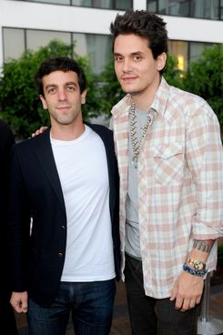 "B.J. Novak and John Mayer attend Party To Celebrate ""The Mindy Project"" at SkyBar at the Mondrian Los Angeles on August 25, 2012 in West Hollywood, California."