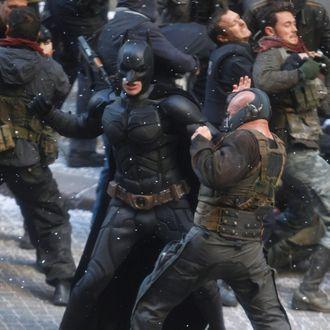 NEW YORK, NY - NOVEMBER 06: Christian Bale and Tom Hardy filming Chris Nolan's