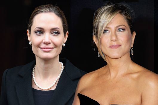 Composite image of Angelina Jolie and Jennifer Aniston.