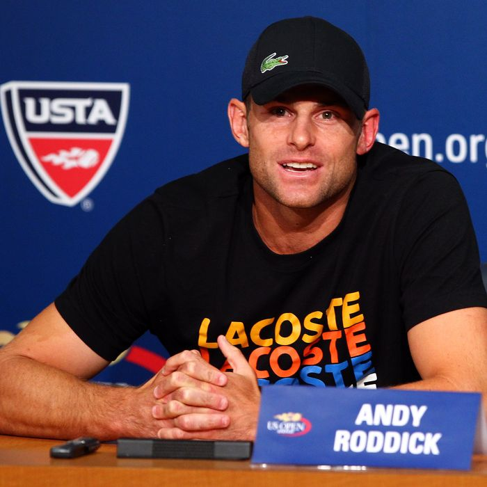 NEW YORK, NY - AUGUST 30: Andy Roddick of the United States speaks to the media during a press conference announcing his retirement during Day Four of the 2012 US Open at USTA Billie Jean King National Tennis Center on August 30, 2012 in the Flushing neighborhood of the Queens borough of New York City. (Photo by Michael Heiman/Getty Images)