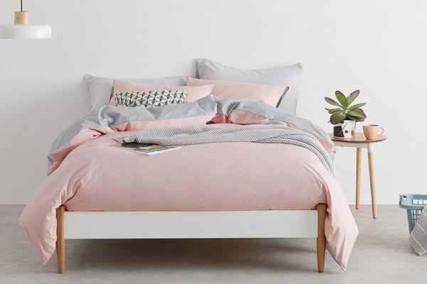 Solar Cotton Duvet Cover + 2 Pillowcases, King, Pink/Grey UK
