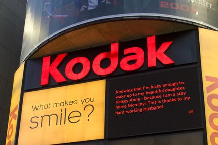 A billboard for Kodak in Times Square at 7th Ave and Broadway is seen in this 2009 New York, NY, early evening cityscape photo.