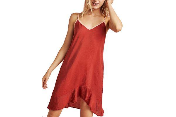 Lacausa Asymmetrical Ruffled Slip Dress