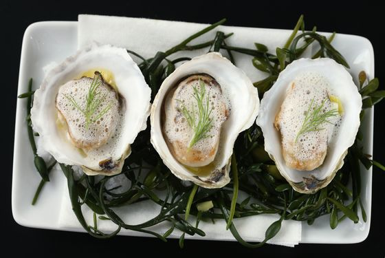 Almanac's roasted oysters.