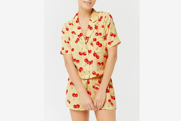 Satin Cherry Print Pajama Set