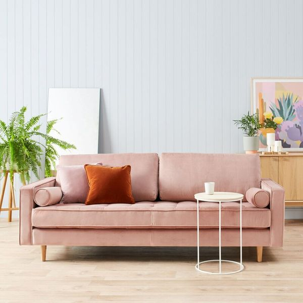 Ravi Velvet 84-Inch Square-Arm Sofa