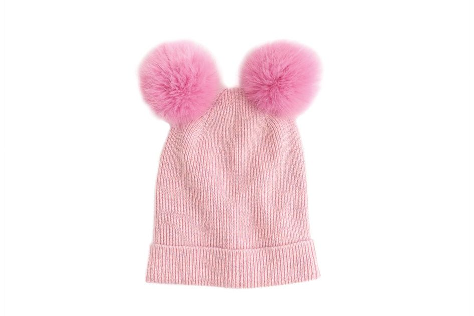 Girls' Double Pom-Pom Beanie Hat in Pink