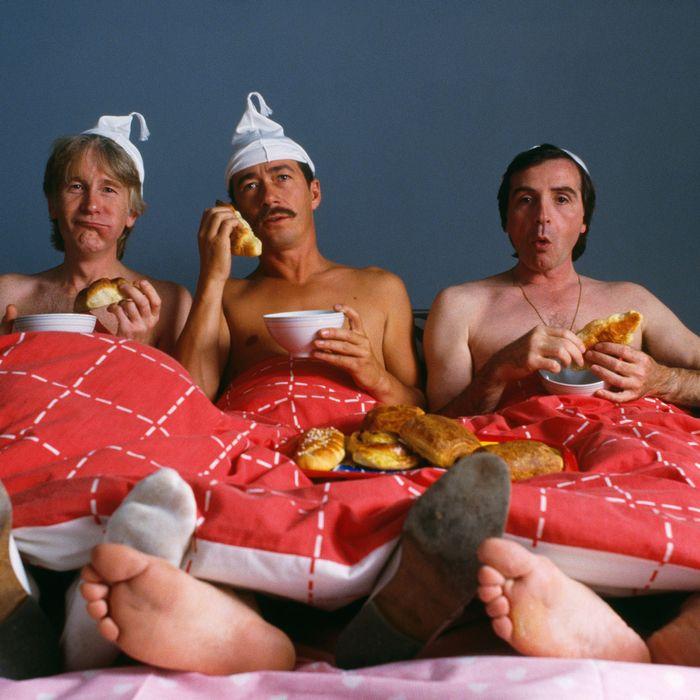 1980s, Paris, France --- (L-R) Gerard Filipelli, Jean Sarrus and Gerard Rinaldi are the surviving three members of comedy troupe Les Charlots. --- Image by ? Jerome Prebois/Kipa/Corbis