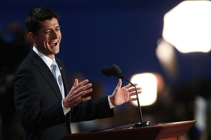 TAMPA, FL - AUGUST 29:  Republican vice presidential candidate, U.S. Rep. Paul Ryan (R-WI) speaks during the third day of the Republican National Convention at the Tampa Bay Times Forum on August 29, 2012 in Tampa, Florida. Former Massachusetts Gov. Former Massachusetts Gov. Mitt Romney was nominated as the Republican presidential candidate during the RNC, which is scheduled to conclude August 30.  (Photo by Win McNamee/Getty Images)