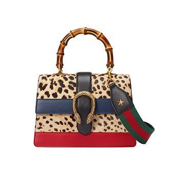 Dionysus Leopard Print Top Handle Bag
