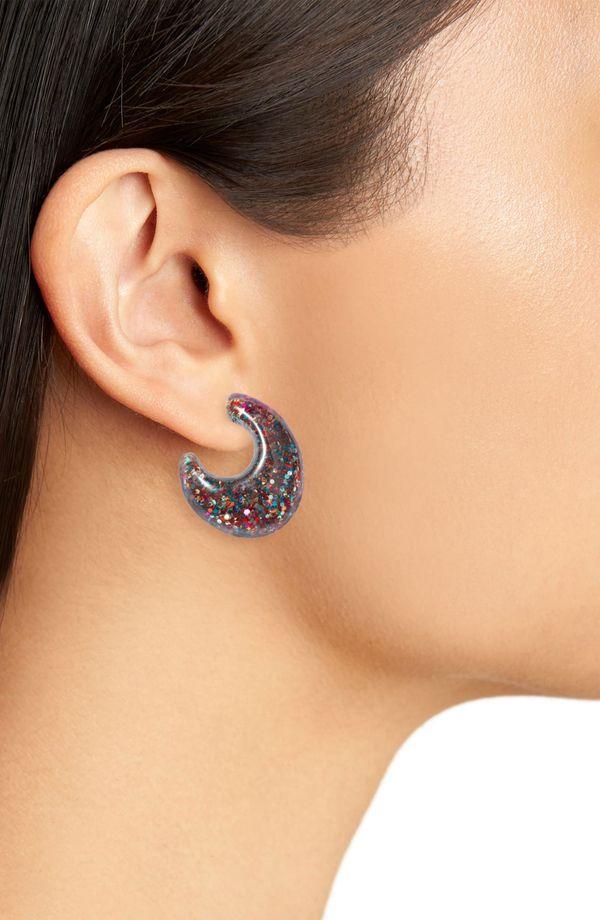 Kate Spade New York glitter huggie earrings