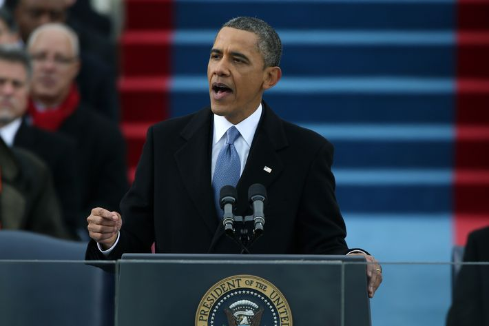 U.S. President Barack Obama speaks after being sworn in during the presidential inauguration on the West Front of the U.S. Capitol January 21, 2013 in Washington, DC.   Barack Obama was re-elected for a second term as President of the United States.