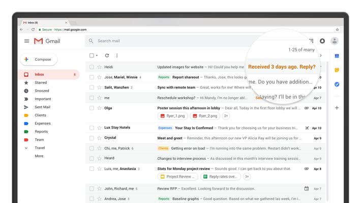 Resultado de imagem para new gmail 2018