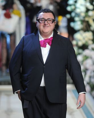 NEW YORK - NOVEMBER 18: Designer Alber Elbaz walks the runway during the Lanvin for H&M Haute Couture Show at The Pierre Hotel on November 18, 2010 in New York City. (Photo by Jamie McCarthy/Getty Images for H&M)