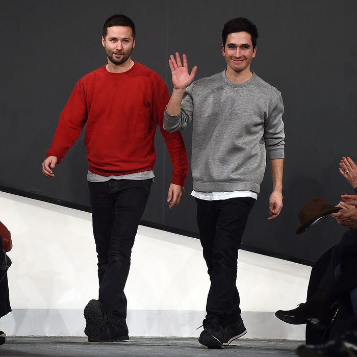 Jack McCollough and Lazaro Hernandez at their F/W 2015 show.