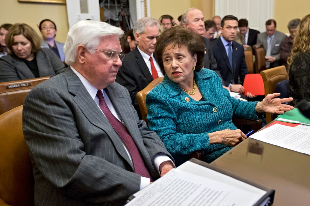 House Appropriations Committee Chairman Rep. Hal Rogers, R-Ky., left, and Rep. Nita Lowey, R-NY, prepare to testify before the House Rules Committee at the Capitol in Washington, Monday, Jan. 14, 2013. The House Rules Committee has been sifting through dozens of amendments on an aid package to assist victims of Superstorm Sandy that devastated parts of the Northeast coast in October and is expected to vote on the bill Tuesday. (AP Photo/J. Scott Applewhite)