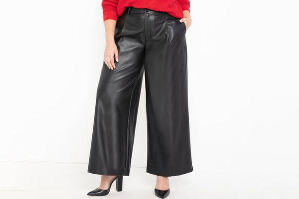 Eloquii Faux Leather Wide Leg Pant