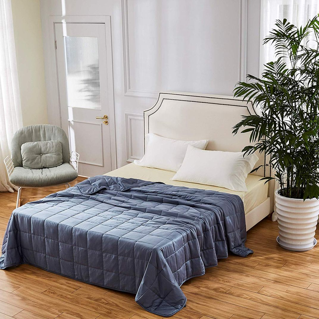 Velvet Quilt Navy Blue Ivory Blanket Pick Stitch Throw Blanket with Pom Poms Navy Ivory Quilt