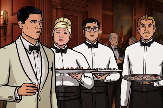 "ARCHER -- "" Bel Panto: Part I ""-- Episode 705 (Airs Thursday, April 28, 10:00pm e/p) Pictured: (l-r) Sterling Archer (voice of H. Jon Benjamin), Pam Poovey (voice of Amber Nash), Cyril Figgis (voice of Chris Parnell), Ray Gillette (voice of Adam Reed). CR: FX"
