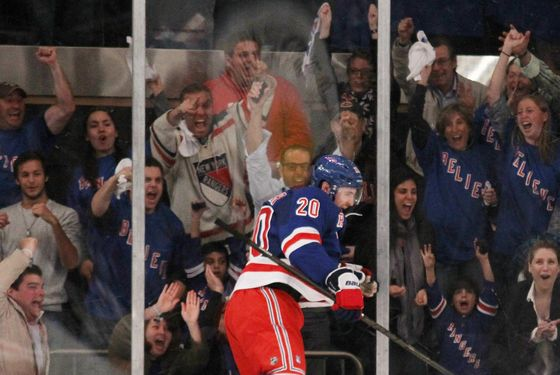 NEW YORK, NY - MAY 14:  Chris Kreider #20 of the New York Rangers celebrates his third period goal against the New Jersey Devils in Game One of the Eastern Conference Finals during the 2012 NHL Stanley Cup Playoffs at Madison Square Garden on May 14, 2012 in New York City.  (Photo by Bruce Bennett/Getty Images) *** Local Caption *** Chris Kreider