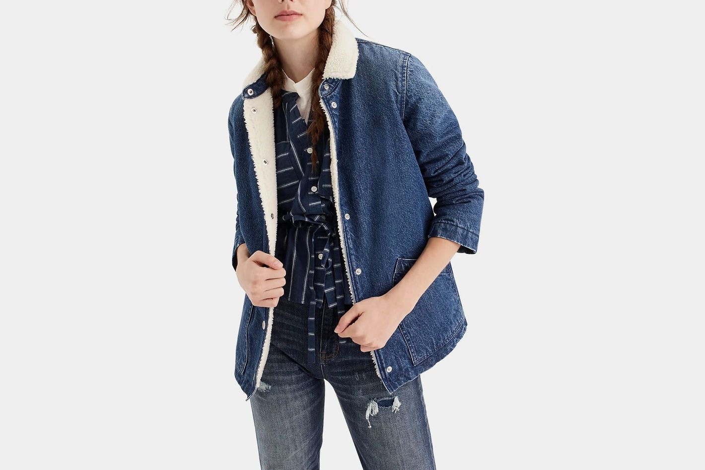 J.Crew Denim Sherpa Swing Jacket