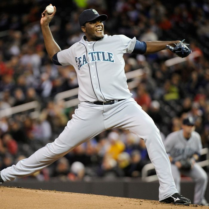 Michael Pineda #36 of the Seattle Mariners delivers a pitch against the Minnesota Twins in the third inning on September 21, 2011 .