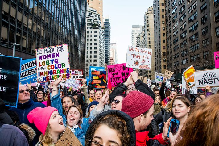 The 2017 Women's March in New York City.