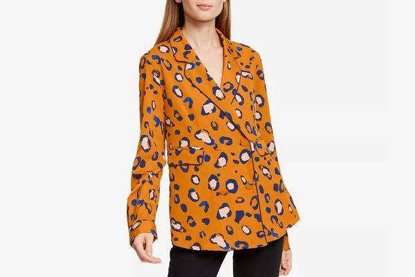 3.1 Phillip Lim for Target Orange Women's Leopard Print Long Sleeve Front Button-Down Blazer