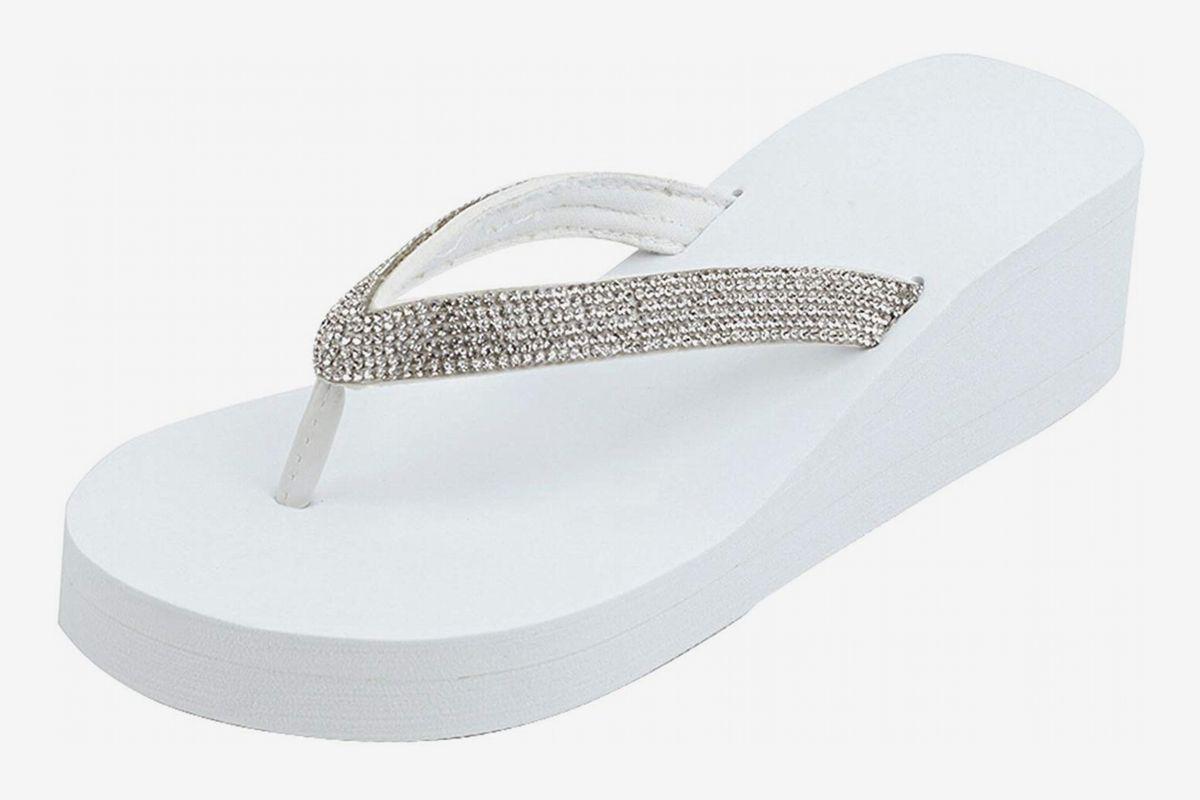 Kate Black Leather /& White Tassel Wedge Sandal New G.I.L.I