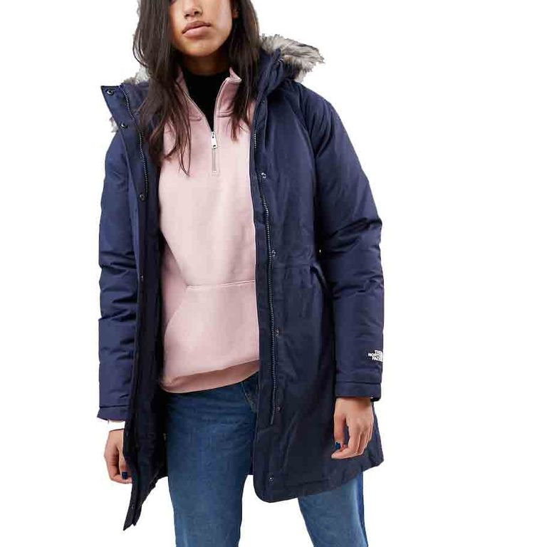 The North Face Parka With Detachable Hood In Navy