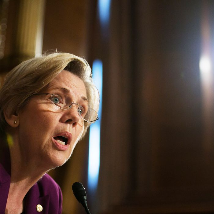WASHINGTON, DC - JULY 11: U.S. Sen. Elizabeth Warren (D-MA) questions witnesses during a Senate Banking, Housing and Urban Affairs Committee hearing on