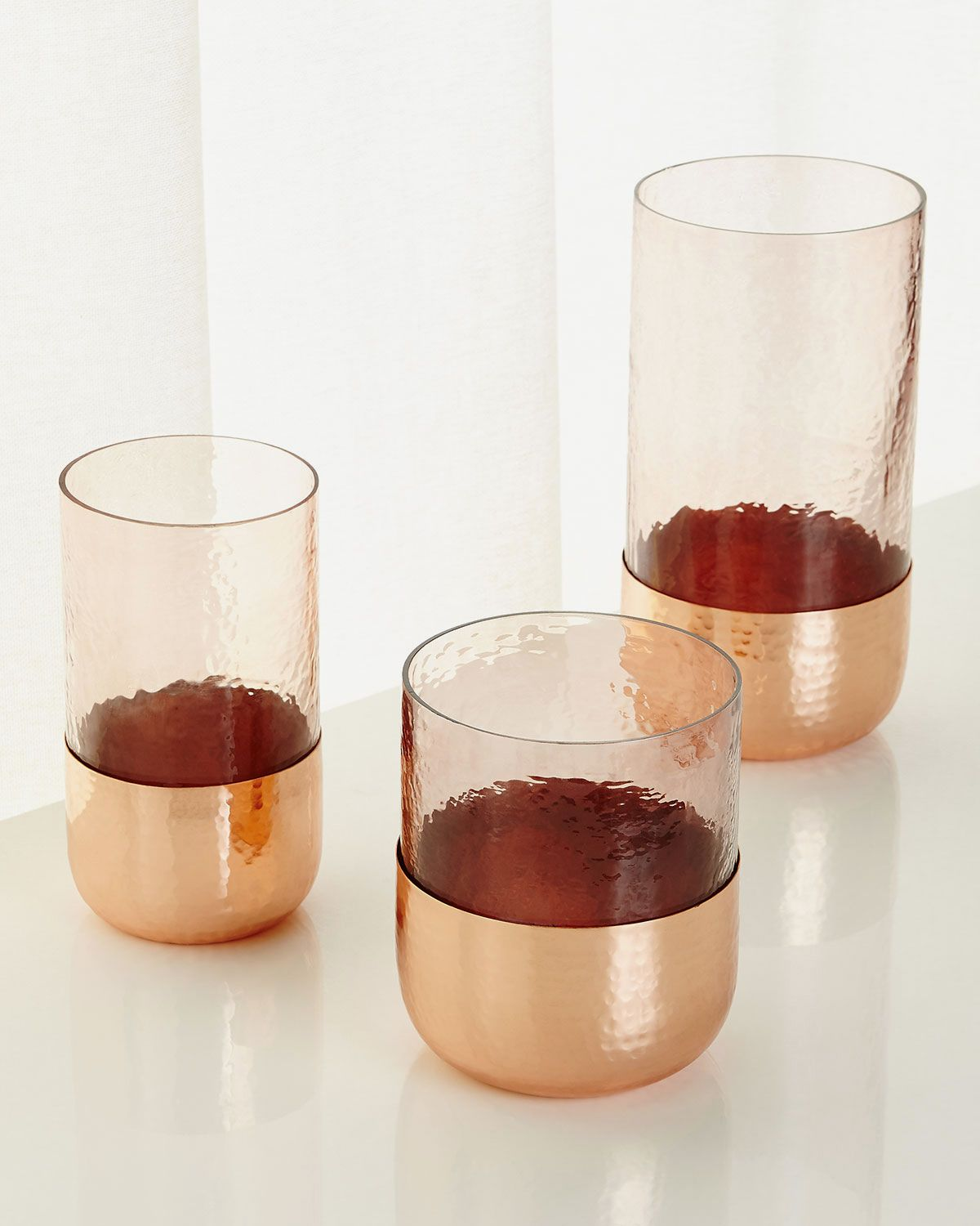 Hammered Glass Hurricanes, Set of 3