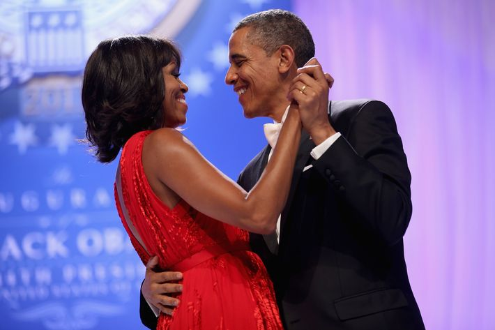 WASHINGTON, DC - JANUARY 21:  U.S. President Barack Obama and first lady Michelle Obama dance together during the Comander-in-Chief's Inaugural Ball at the Walter Washington Convention Center January 21, 2013 in Washington, DC. Obama was sworn-in for his second term of office earlier in the day.  (Photo by Chip Somodevilla/Getty Images)