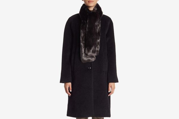 Cole Haan Front Button Faux Fur Tie Coat