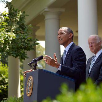 US President Barack Obama speaks in the Rose Garden on immigration reform as US Vice President Joe Biden listens on June 30, 2014 at the White House in Washington, DC.