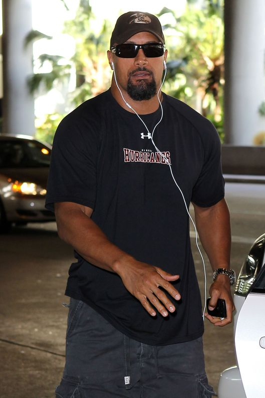 "Dwayne ""The Rock"" Johnson arrives at Fort Lauderdale International Airport.  He was picked up at the airport by his mother, Ata Maivia."