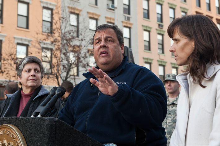 HOBOKEN, NJ - NOVEMBER 04: New Jersey Governor Chris Christie (C) is joined by Secretary Janet Napolitano (L) of Department of Homeland Security (DHS) and Mayor Dawn Zimmer (R) of Hoboken during a joint press conference on November 4, 2012 in Hoboken, New Jersey. As New Jersey continues to clean up from Superstorm Sandy, worries are now growing for a new storm set to hit the state on Wednesday, November 7. (Photo by Andrew Burton/Getty Images)