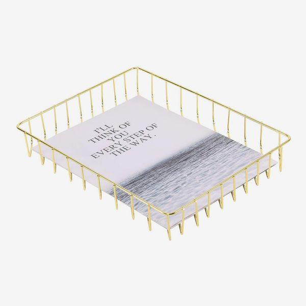 Simmer Stone Desk Tray, Wire Metal Letter File Tray Organizer